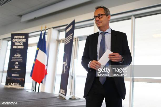 Jerome Pecresse, General Electric Renewable Energy's CEO for France, looks on during the laying of the first foundation stone of the LM Wind...