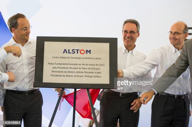 Jerome Pecresse , President of Alstom's Renewable Power Sector, and Philippe Delleur , President of Alstom Brazil, attend an opening ceremony at...