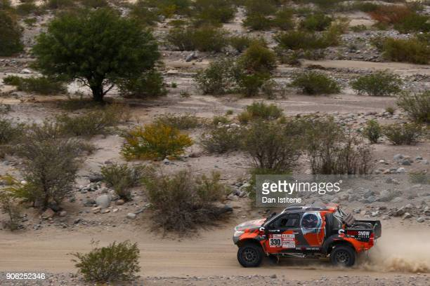 Jerome Pelichet of France and RaidLynx drives with codriver Eugenie Decre of Switzerland in the Toyota Overdrive car in the Classe T11 4x4 Essence...