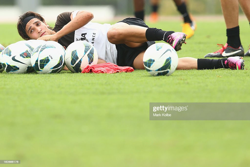 Jerome Polenz falls over during a Western Sydney Wanderers A-League training session at Blacktown International Sportspark on February 26, 2013 in Sydney, Australia.