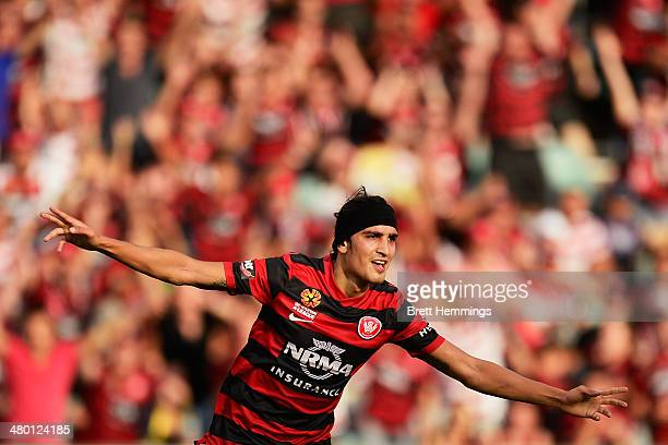 Jerome Polenz of the Wanderers celebrates after scoring during the round 24 ALeague match between the Western Sydney Wanderers and Perth Glory at...