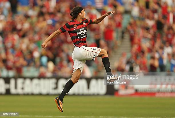 Jerome Polenz of the Wanderers celebrates scoring a goal during the round two ALeague match between the Western Sydney Wanderers and Wellington...