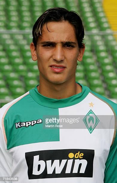 Jerome Polenz poses during the Bundesliga 1st Team Presentation of SV Werder Bremen at the Weser Stadium on July 29 2006 in Bremen Germany