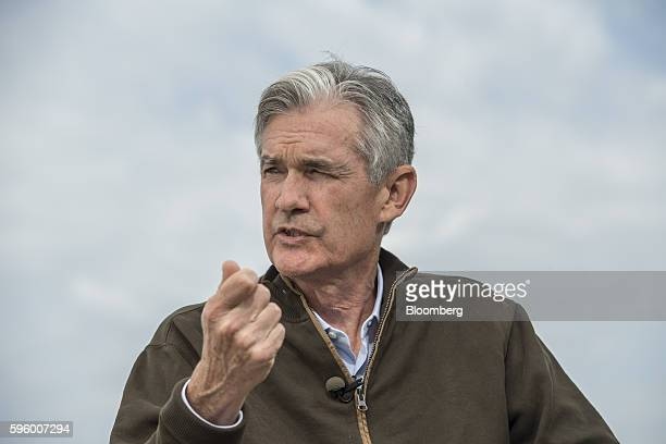 Jerome Powell a member of the board of governors at the Federal Reserve System speaks during a Bloomberg Television interview during the Jackson Hole...
