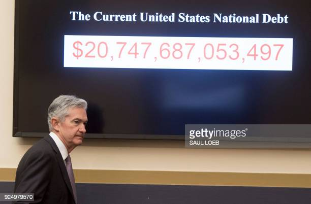 Jerome Powell Chairman of the Federal Reserve Board arrives to testify during a House Financial Services Committee hearing on Capitol Hill in...