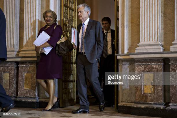 Jerome Powell chairman of the US Federal Reserve arrives to a Financial Stability Oversight Council meeting at the US Treasury in Washington DC US on...