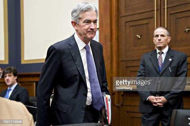 Jerome Powell chairman of the US Federal Reserve arrives to a House Financial Services Committee hearing in Washington DC US on Wednesday July 18...