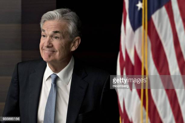 Jerome Powell chairman of the US Federal Reserve arrives to a news conference following a Federal Open Market Committee meeting in Washington DC US...