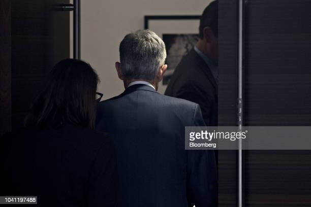 Jerome Powell chairman of the US Federal Reserve exits after a news conference following a Federal Open Market Committee meeting in Washington DC US...