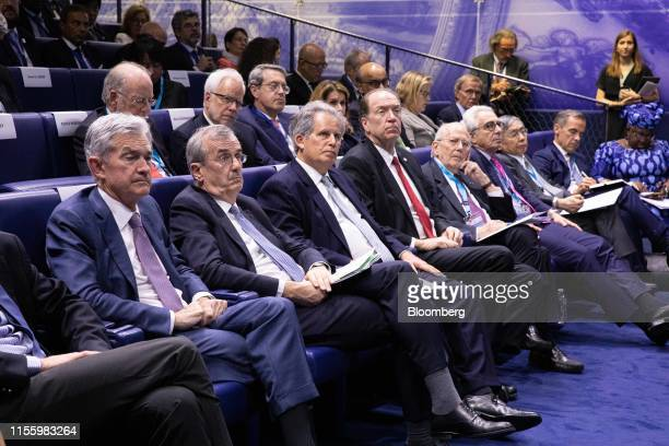 Jerome Powell chairman of the US Federal Reserve from left Francois Villeroy de Galhau governor of the Bank of France David Lipton acting managing...