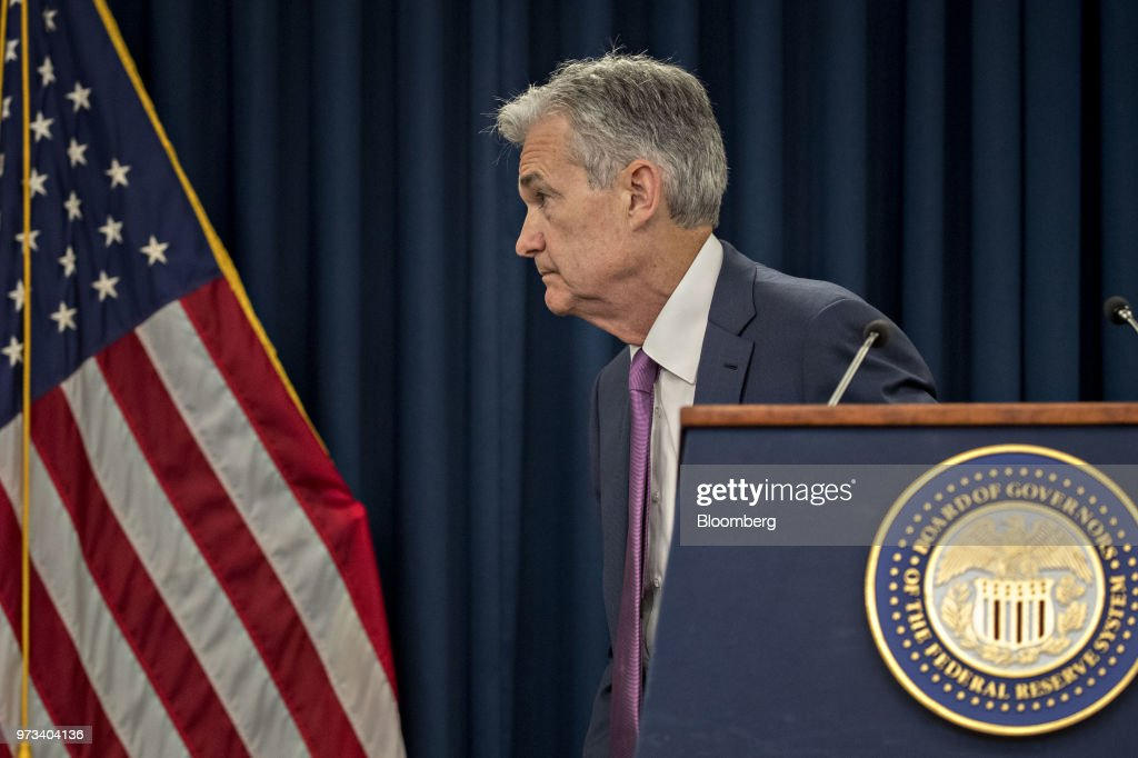 Jerome Powell, chairman of the U.S. Federal Reserve, leaves the podium after speaking at a news conference following a Federal Open Market Committee (FOMC) meeting in Washington, D.C., U.S., on Wednesday, June 13, 2018. Federal Reserve officials raised interest rates for the second time this year and upgraded their forecast to four total increases in 2018, as unemployment falls and inflation overshoots their target faster than previously projected. Photographer: Andrew Harrer/Bloomberg via Getty Images