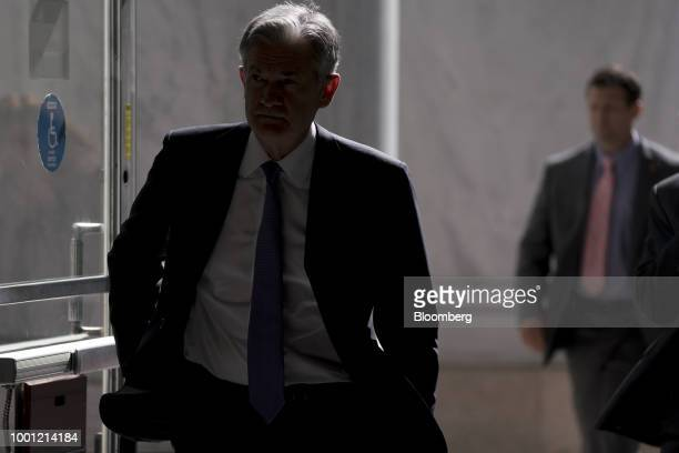 Jerome Powell chairman of the US Federal Reserve left arrives to the Rayburn House Office building before a House Financial Services Committee...
