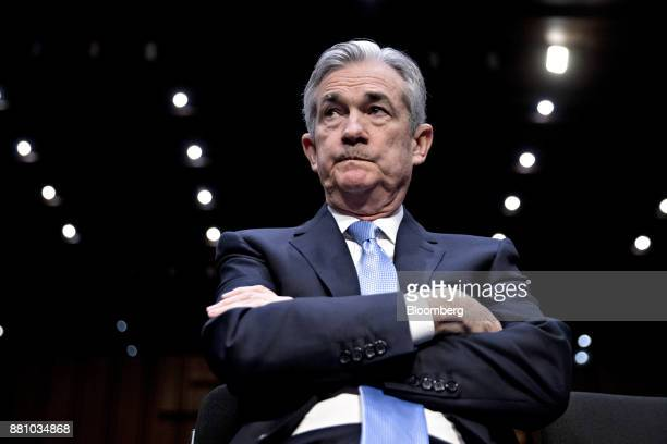 Jerome Powell chairman of the US Federal Reserve nominee for US President Donald Trump waits to begin a Senate Banking Committee confirmation hearing...