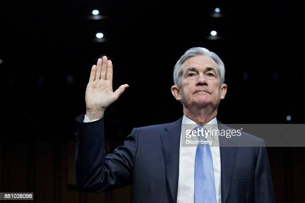 Jerome Powell chairman of the US Federal Reserve nominee for US President Donald Trump swears in to a Senate Banking Committee confirmation hearing...