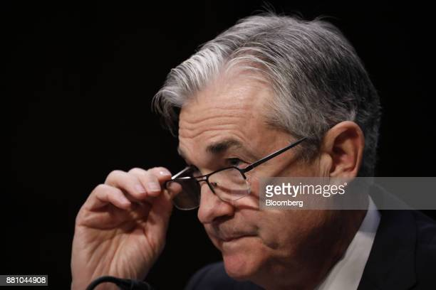 Jerome Powell chairman of the US Federal Reserve nominee for US President Donald Trump testifies at a Senate Banking Committee confirmation hearing...