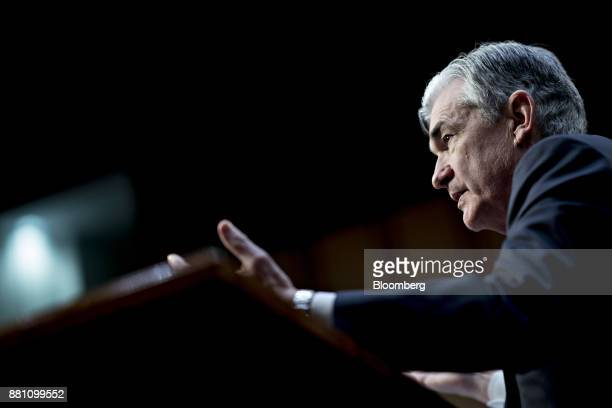 Jerome Powell chairman of the US Federal Reserve nominee for US President Donald Trump speaks during a Senate Banking Committee confirmation hearing...