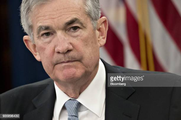 Jerome Powell chairman of the US Federal Reserve pauses after speaking during a news conference following a Federal Open Market Committee meeting in...