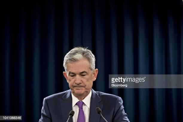 Jerome Powell chairman of the US Federal Reserve pauses during a news conference following a Federal Open Market Committee meeting in Washington DC...