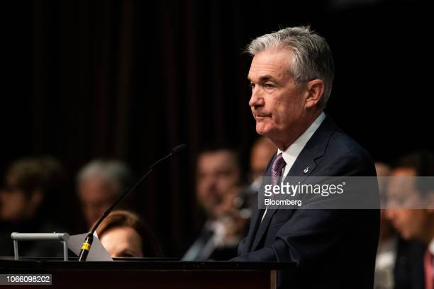 Jerome Powell chairman of the US Federal Reserve pauses while speaking at a meeting of the Economic Club of New York in New York US on Wednesday Nov...