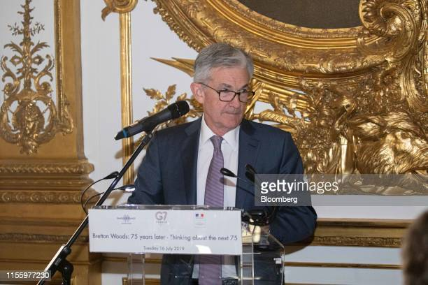 Jerome Powell chairman of the US Federal Reserve pauses while speaking during an event celebrating the 75th anniversary of the Bretton Woods system...