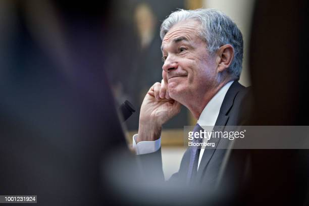 Jerome Powell chairman of the US Federal Reserve reacts to a question during a House Financial Services Committee hearing in Washington DC US on...