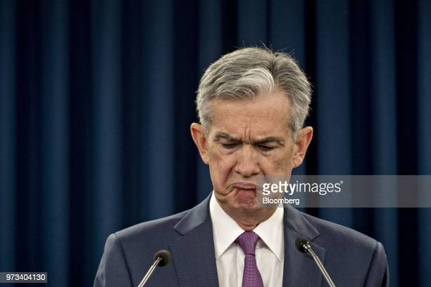 Jerome Powell chairman of the US Federal Reserve reacts to a question during a news conference following a Federal Open Market Committee meeting in...