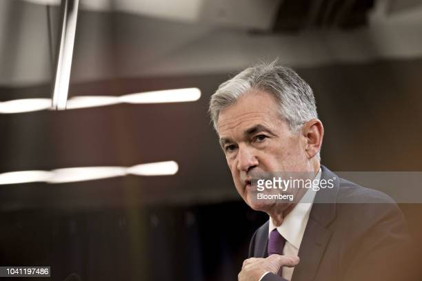 Jerome Powell chairman of the US Federal Reserve speaks during a news conference following a Federal Open Market Committee meeting in Washington DC...