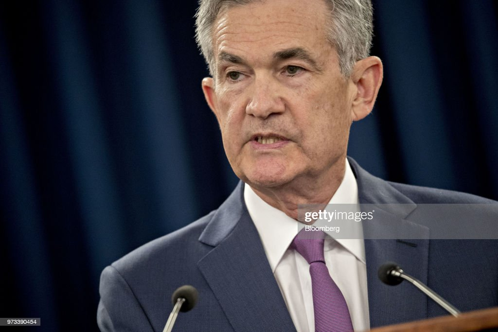 Jerome Powell, chairman of the U.S. Federal Reserve, speaks during a news conference following a Federal Open Market Committee (FOMC) meeting in Washington, D.C., U.S., on Wednesday, June 13, 2018. Federal Reserve officials raised interest rates for the second time this year and upgraded their forecast to four total increases in 2018, as unemployment falls and inflation overshoots their target faster than previously projected. Photographer: Andrew Harrer/Bloomberg via Getty Images