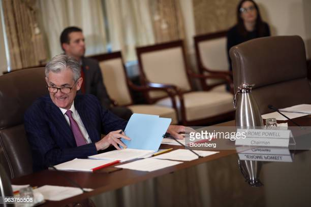 Jerome Powell chairman of the US Federal Reserve speaks during a meeting with the Board of Governors for the Federal Reserve in Washington DC US on...