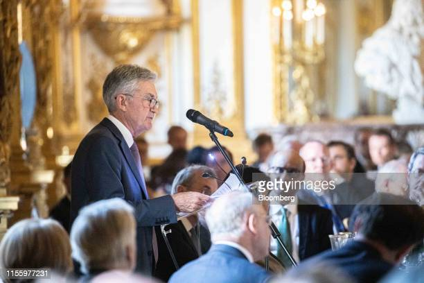 Jerome Powell chairman of the US Federal Reserve speaks during an event celebrating the 75th anniversary of the Bretton Woods system of monetary...