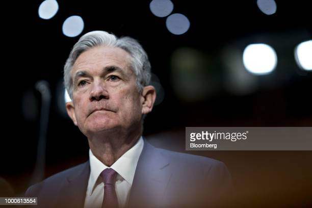 Jerome Powell chairman of the US Federal Reserve speaks during a Senate Banking Committee hearing in Washington DC US on Tuesday July 17 2018 Powell...
