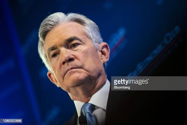 Jerome Powell chairman of the US Federal Reservelistens during an Economic Club of Washington discussion in Washington DC US on Thursday Jan 10 2019...