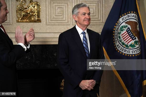 Jerome Powell during a swearingin ceremony officiated by Vice Chair for Supervision Randal K Quarles February 5 2018 at the Federal Reserve in...