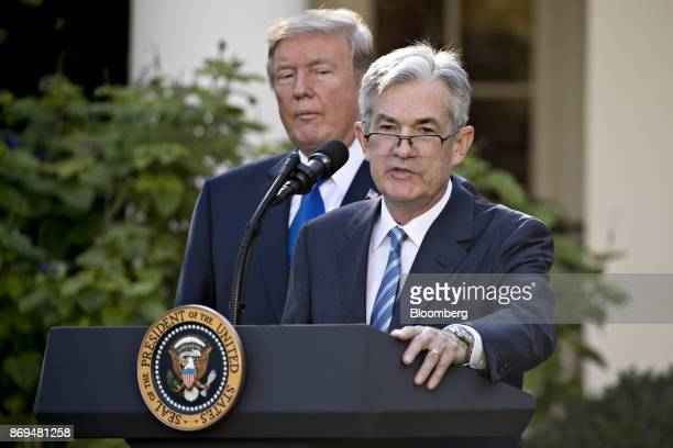 Jerome Powell governor of the US Federal Reserve and President Donald Trump's nominee as chairman of the Federal Reserve speaks as Trump left listens...