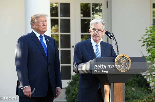 Jerome Powell governor of the US Federal Reserve and President Donald Trump's nominee as chairman of the Federal Reserve right speaks while Trump...