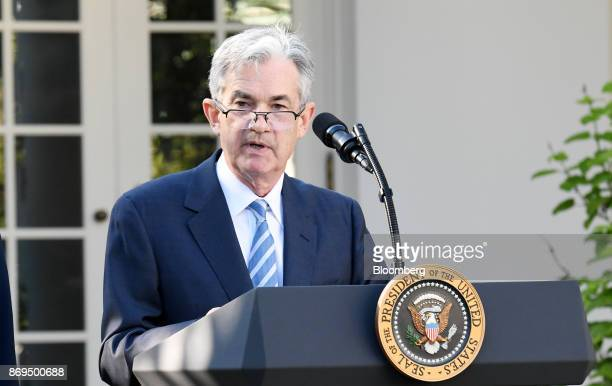 Jerome Powell governor of the US Federal Reserve and President Donald Trump's nominee as chairman of the Federal Reserve speaks during a nomination...
