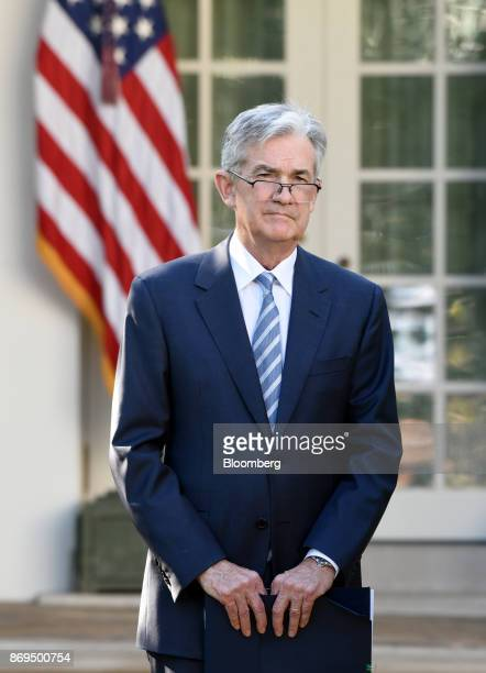 Jerome Powell governor of the US Federal Reserve and President Donald Trump's nominee as chairman of the Federal Reserve arrives to a nomination...