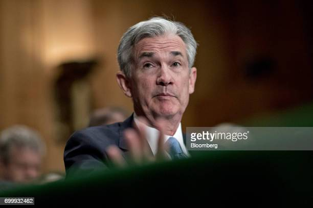 Jerome Powell governor of the US Federal Reserve speaks during a Senate Banking Committee hearing in Washington DC US on Thursday June 22 2017 Top US...