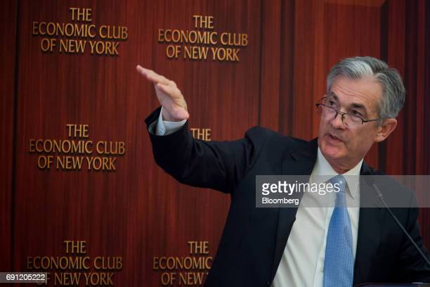 Jerome Powell governor of the US Federal Reserve speaks during an Economic Club of New York event in New York US on Thursday June 1 2017 Powellis...