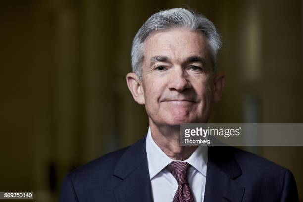 Jerome Powell governor of the US Federal Reserve stands for a photograph at the board's headquarters in Washington DC US on Thursday April 13 2017...