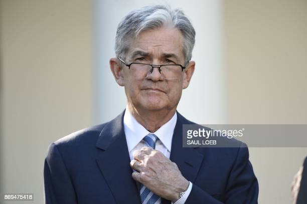 Jerome Powell listens as US President Donald Trump announces Powell as nominee for Chairman of the Federal Reserve in the Rose Garden of the White...