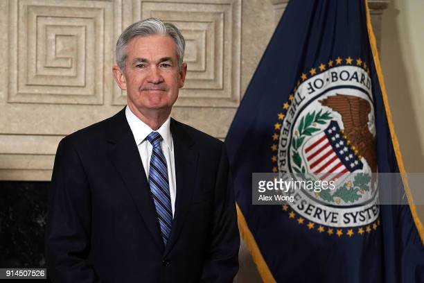 Jerome Powell looks on after a swearingin ceremony February 5 2018 at the Federal Reserve in Washington DC Powell succeeds Janet Yellen to become the...