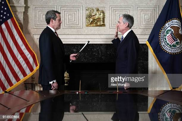 Jerome Powell takes oath during a swearingin ceremony officiated by Vice Chair for Supervision Randal K Quarles February 5 2018 at the Federal...