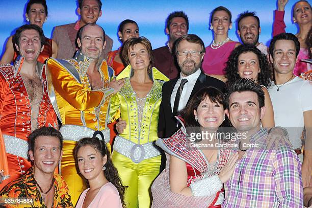 Jerome Pradon Claire Guyot Björn Kristian Ulvaeus Gaelle Gauthier and Dan Menash on stage during the premiere of Mamma Mia at Theatre Mogador in Paris
