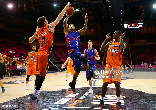 Jerome Randall of the 36ers shoots during the Australian Basketball Challenge match between Cairns Taipans and Adelaide 36ers at the Brisbane...