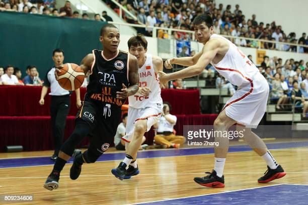 Jerome Randle of Australia looks to pass against Zeng Lingxu of China during the 2017 SinoAustralia Men's International Basketball Challenge at...
