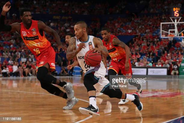 Jerome Randle of the 36ers drives to the key way during the round nine NBL match between the Perth Wildcats and the Adelaide 36ers at Perth Arena on...