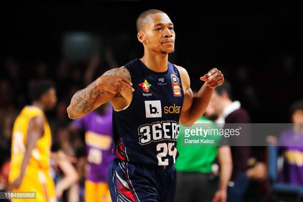 Jerome Randle of the Adelaide 36ers reacts at quarter time during the round five NBL match between the Adelaide 36ers and the Sydney Kings at the...