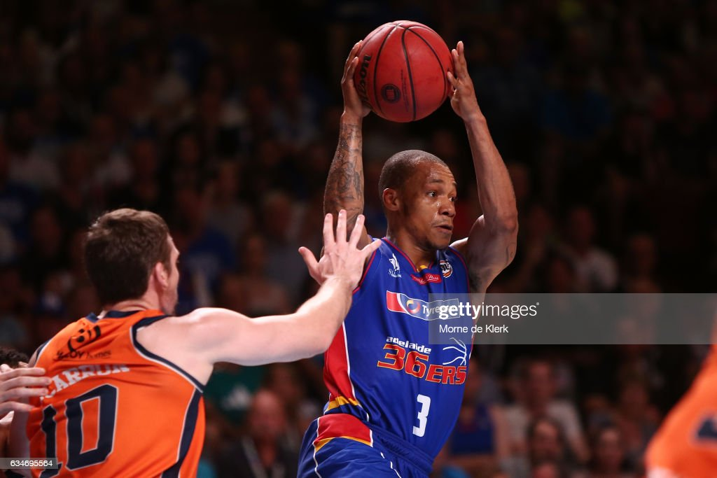 Jerome Randle of the Adelaide 36ers wins the ball during the round 19 NBL match between the Adelaide 36ers and the Cairns Taipans at Titanium Security Arena on February 11, 2017 in Adelaide, Australia.