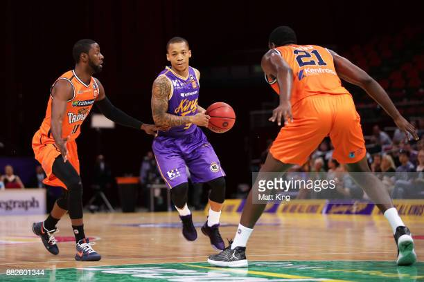 Jerome Randle of the Kings controls the ball during the round eight NBL match between the Sydney Kings and the Cairns Taipans at Qudos Bank Arena on...
